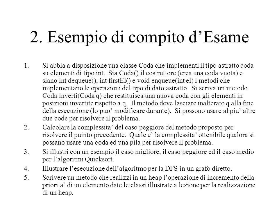 2. Esempio di compito d'Esame 1.Si abbia a disposizione una classe Coda che implementi il tipo astratto coda su elementi di tipo int. Sia Coda() il co
