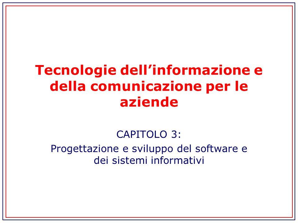 Tecnologie dell'informazione e della comunicazione per le aziende CAPITOLO 3: Progettazione e sviluppo del software e dei sistemi informativi