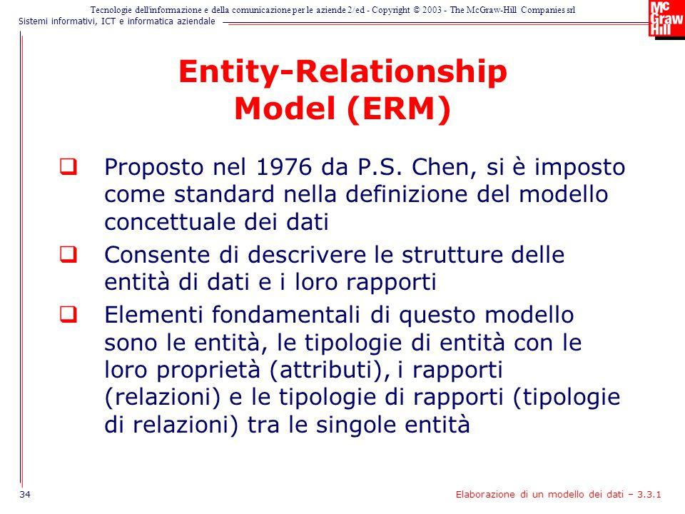 Sistemi informativi, ICT e informatica aziendale Tecnologie dell informazione e della comunicazione per le aziende 2/ed - Copyright © 2003 - The McGraw-Hill Companies srl Entity-Relationship Model (ERM)  Proposto nel 1976 da P.S.