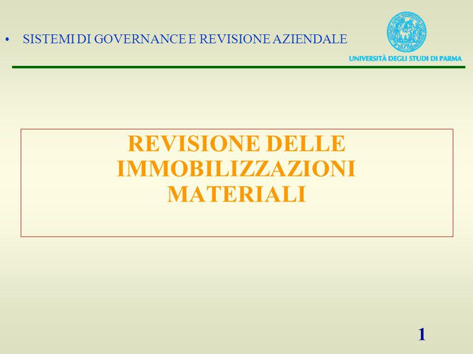 SISTEMI DI GOVERNANCE E REVISIONE AZIENDALE 1 REVISIONE DELLE IMMOBILIZZAZIONI MATERIALI