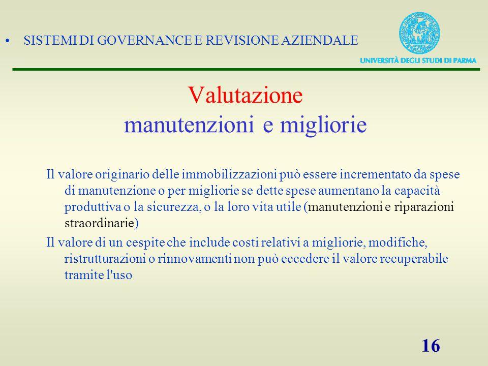 SISTEMI DI GOVERNANCE E REVISIONE AZIENDALE 16 Valutazione manutenzioni e migliorie Il valore originario delle immobilizzazioni può essere incrementat