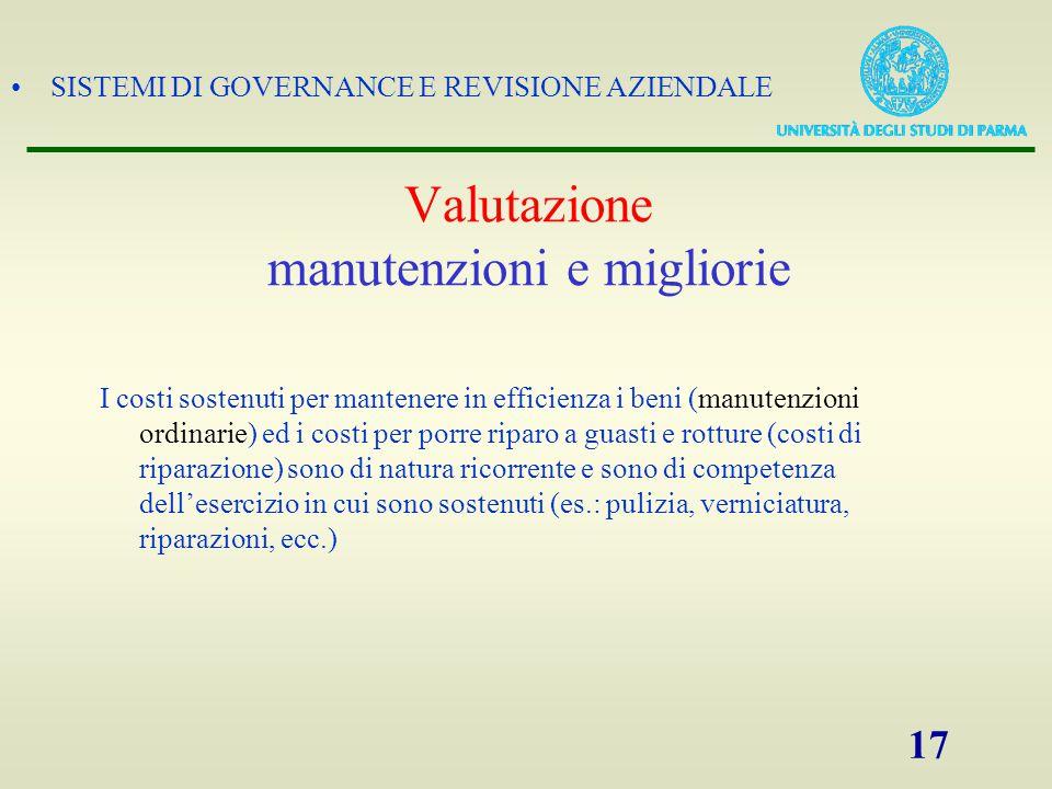 SISTEMI DI GOVERNANCE E REVISIONE AZIENDALE 17 I costi sostenuti per mantenere in efficienza i beni (manutenzioni ordinarie) ed i costi per porre ripa