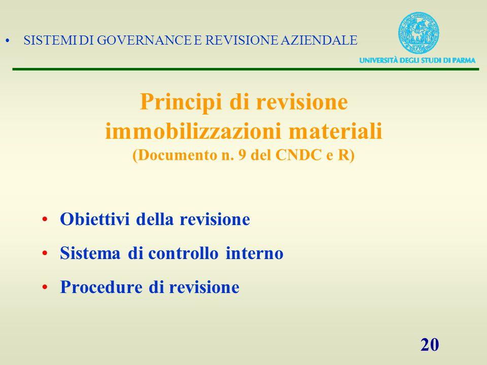 SISTEMI DI GOVERNANCE E REVISIONE AZIENDALE 20 Principi di revisione immobilizzazioni materiali (Documento n. 9 del CNDC e R) Obiettivi della revision
