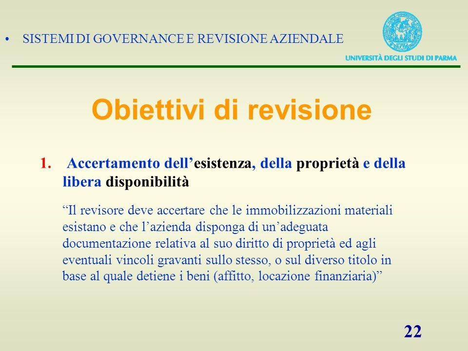 """SISTEMI DI GOVERNANCE E REVISIONE AZIENDALE 22 1. Accertamento dell'esistenza, della proprietà e della libera disponibilità """"Il revisore deve accertar"""