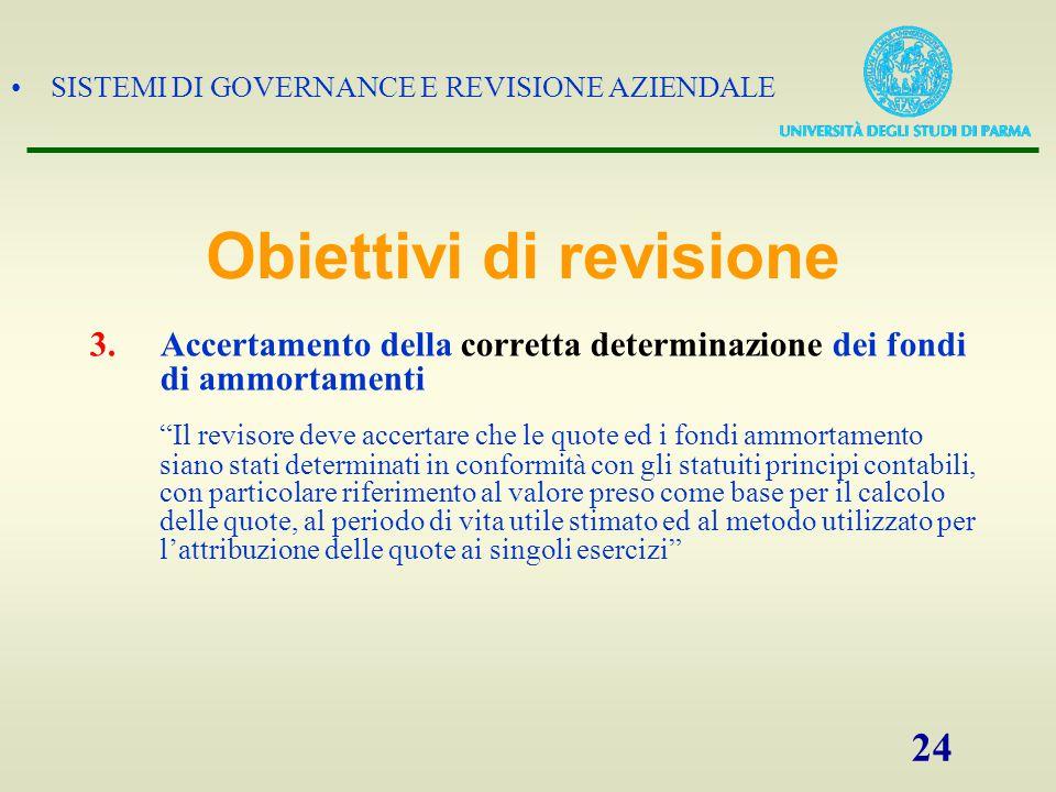 """SISTEMI DI GOVERNANCE E REVISIONE AZIENDALE 24 3.Accertamento della corretta determinazione dei fondi di ammortamenti """"Il revisore deve accertare che"""