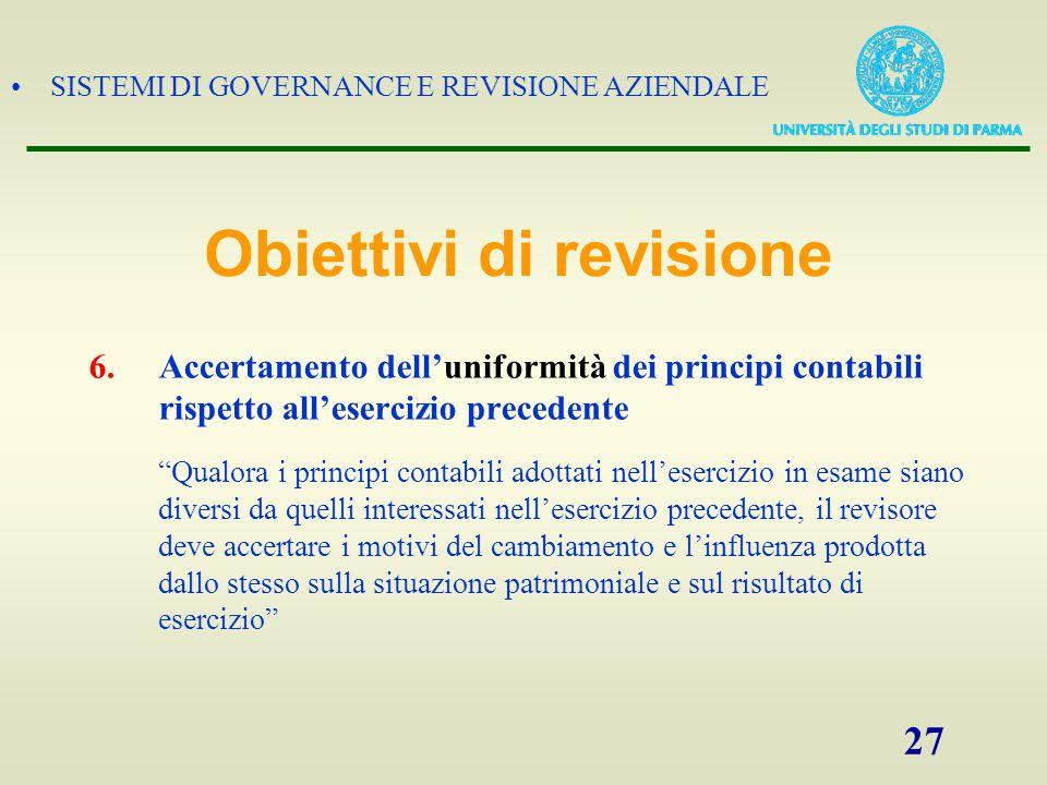 """SISTEMI DI GOVERNANCE E REVISIONE AZIENDALE 27 6.Accertamento dell'uniformità dei principi contabili rispetto all'esercizio precedente """"Qualora i prin"""
