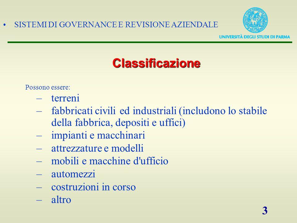 SISTEMI DI GOVERNANCE E REVISIONE AZIENDALE 3 Possono essere: –terreni –fabbricati civili ed industriali (includono lo stabile della fabbrica, deposit