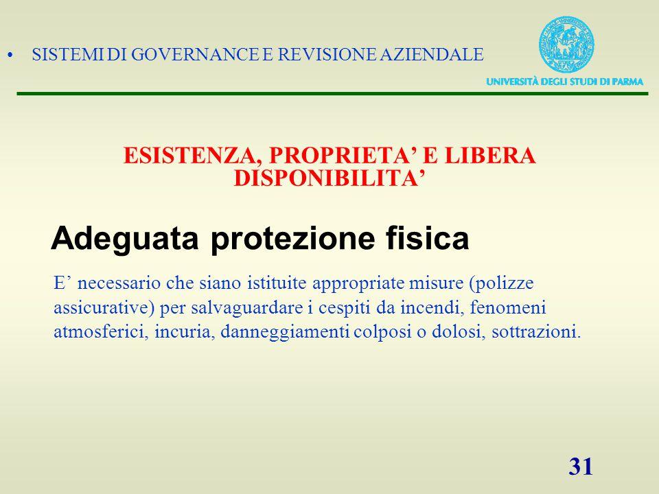 SISTEMI DI GOVERNANCE E REVISIONE AZIENDALE 31 E' necessario che siano istituite appropriate misure (polizze assicurative) per salvaguardare i cespiti