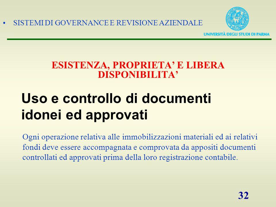 SISTEMI DI GOVERNANCE E REVISIONE AZIENDALE 32 Ogni operazione relativa alle immobilizzazioni materiali ed ai relativi fondi deve essere accompagnata