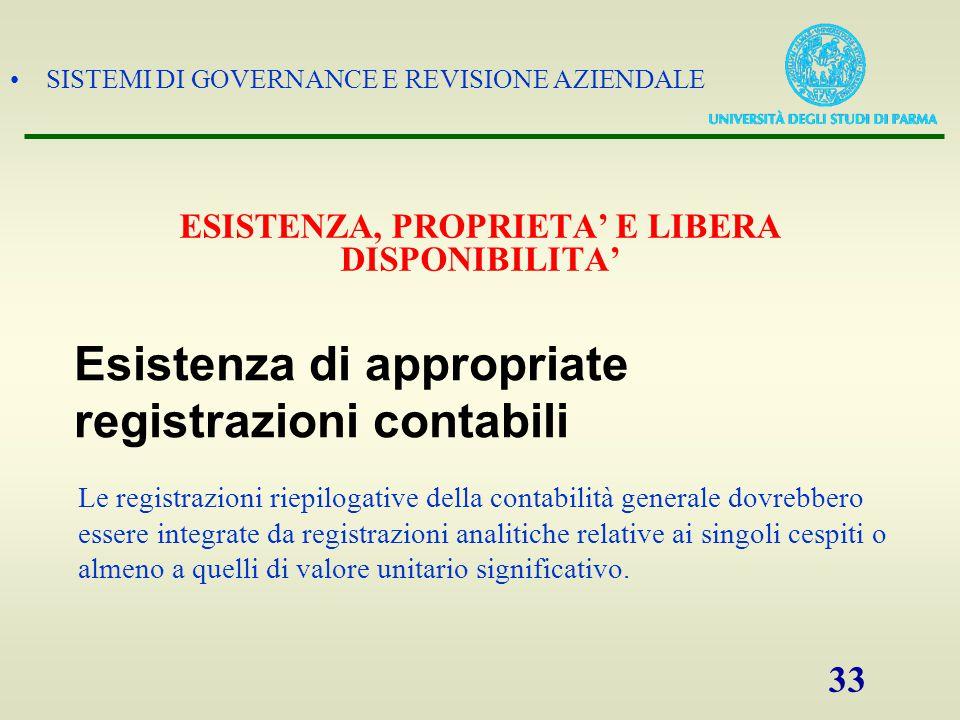 SISTEMI DI GOVERNANCE E REVISIONE AZIENDALE 33 Le registrazioni riepilogative della contabilità generale dovrebbero essere integrate da registrazioni