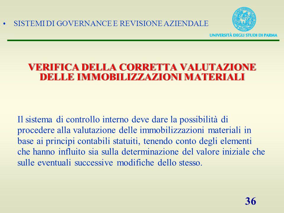 SISTEMI DI GOVERNANCE E REVISIONE AZIENDALE 36 VERIFICA DELLA CORRETTA VALUTAZIONE DELLE IMMOBILIZZAZIONI MATERIALI Il sistema di controllo interno de