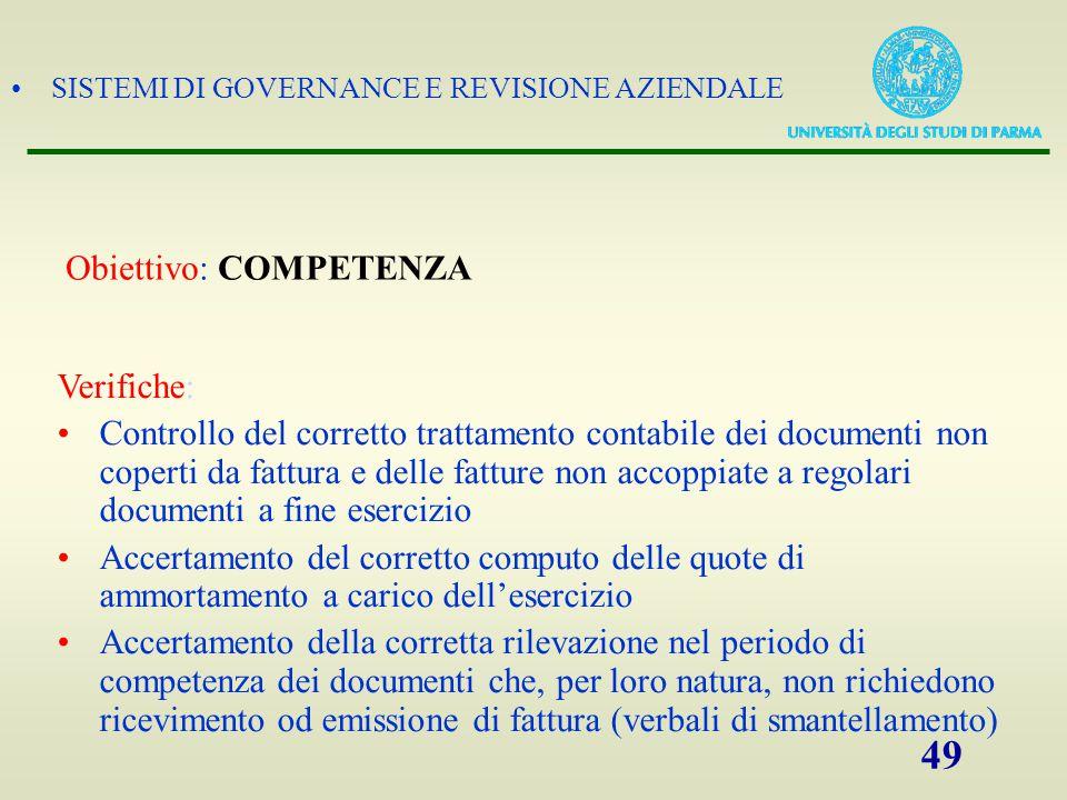SISTEMI DI GOVERNANCE E REVISIONE AZIENDALE 49 Verifiche: Controllo del corretto trattamento contabile dei documenti non coperti da fattura e delle fa