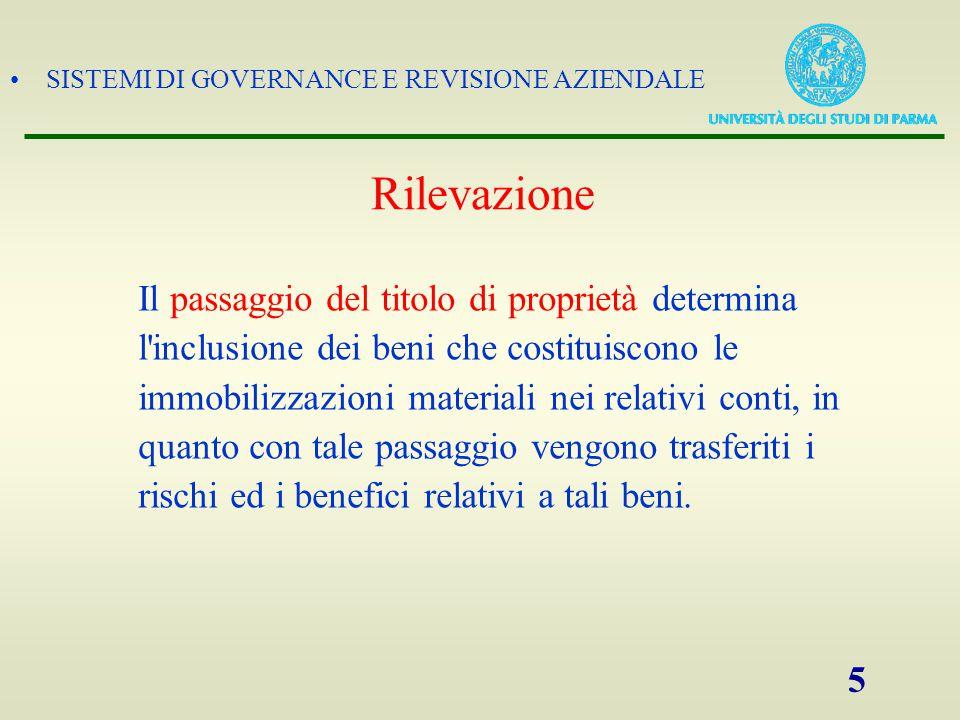 SISTEMI DI GOVERNANCE E REVISIONE AZIENDALE 5 Rilevazione Il passaggio del titolo di proprietà determina l'inclusione dei beni che costituiscono le im
