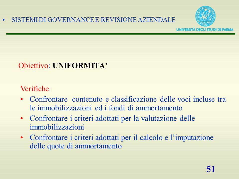 SISTEMI DI GOVERNANCE E REVISIONE AZIENDALE 51 Obiettivo: UNIFORMITA' Verifiche: Confrontare contenuto e classificazione delle voci incluse tra le imm