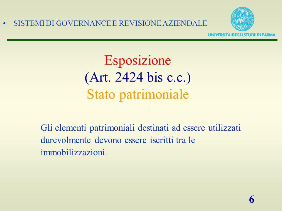 SISTEMI DI GOVERNANCE E REVISIONE AZIENDALE 6 Esposizione (Art. 2424 bis c.c.) Stato patrimoniale Gli elementi patrimoniali destinati ad essere utiliz