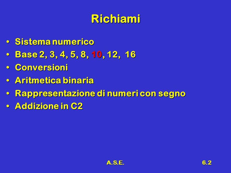 A.S.E.6.2 Richiami Sistema numericoSistema numerico Base 2, 3, 4, 5, 8, 10, 12, 16Base 2, 3, 4, 5, 8, 10, 12, 16 ConversioniConversioni Aritmetica binariaAritmetica binaria Rappresentazione di numeri con segnoRappresentazione di numeri con segno Addizione in C2Addizione in C2
