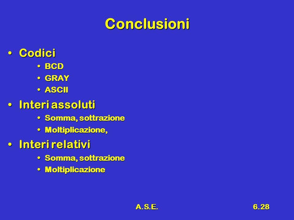 A.S.E.6.28 Conclusioni CodiciCodici BCDBCD GRAYGRAY ASCIIASCII Interi assolutiInteri assoluti Somma, sottrazioneSomma, sottrazione Moltiplicazione,Moltiplicazione, Interi relativiInteri relativi Somma, sottrazioneSomma, sottrazione MoltiplicazioneMoltiplicazione