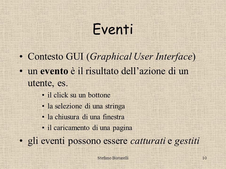 Stefano Bistarelli10 Eventi Contesto GUI (Graphical User Interface) un evento è il risultato dell'azione di un utente, es.
