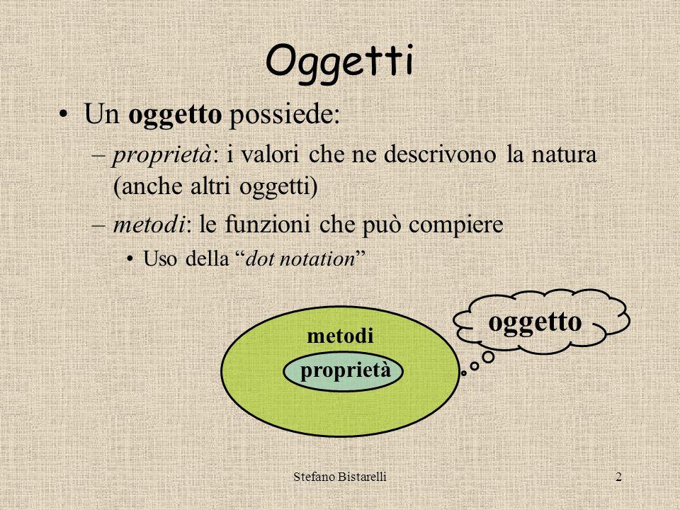 Stefano Bistarelli2 Oggetti Un oggetto possiede: –proprietà: i valori che ne descrivono la natura (anche altri oggetti) –metodi: le funzioni che può compiere Uso della dot notation proprietà metodi oggetto