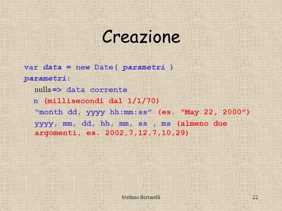 Stefano Bistarelli22 Creazione var data = new Date( parametri ) parametri: nulla => data corrente n (millisecondi dal 1/1/70) month dd, yyyy hh:mm:ss (es.