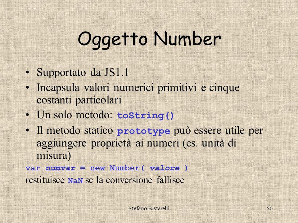 Stefano Bistarelli50 Oggetto Number Supportato da JS1.1 Incapsula valori numerici primitivi e cinque costanti particolari Un solo metodo: toString() Il metodo statico prototype può essere utile per aggiungere proprietà ai numeri (es.