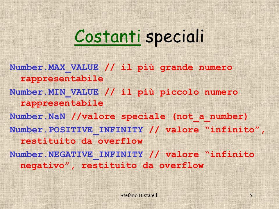 Stefano Bistarelli51 CostantiCostanti speciali Number.MAX_VALUE // il più grande numero rappresentabile Number.MIN_VALUE // il più piccolo numero rapp