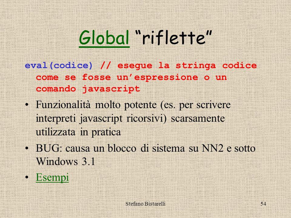 Stefano Bistarelli54 GlobalGlobal riflette eval(codice) // esegue la stringa codice come se fosse un'espressione o un comando javascript Funzionalità molto potente (es.