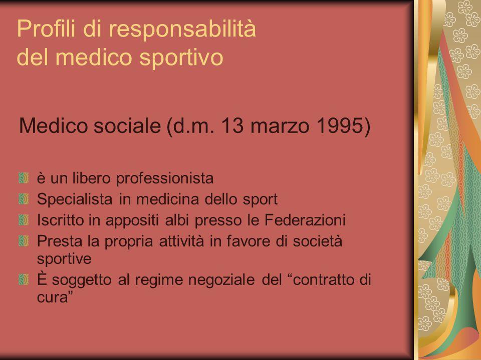 Profili di responsabilità del medico sportivo Medico sociale (d.m.