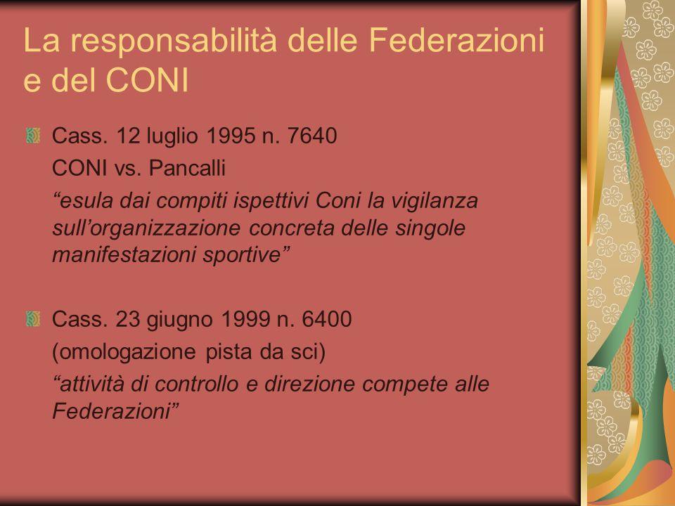 La responsabilità delle Federazioni e del CONI Cass.