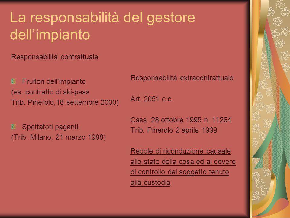 La responsabilità del gestore dell'impianto Responsabilità contrattuale Fruitori dell'impianto (es.