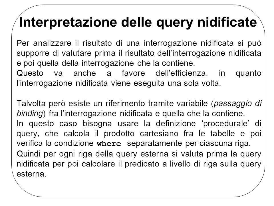 Interpretazione delle query nidificate Per analizzare il risultato di una interrogazione nidificata si può supporre di valutare prima il risultato dell'interrogazione nidificata e poi quella della interrogazione che la contiene.