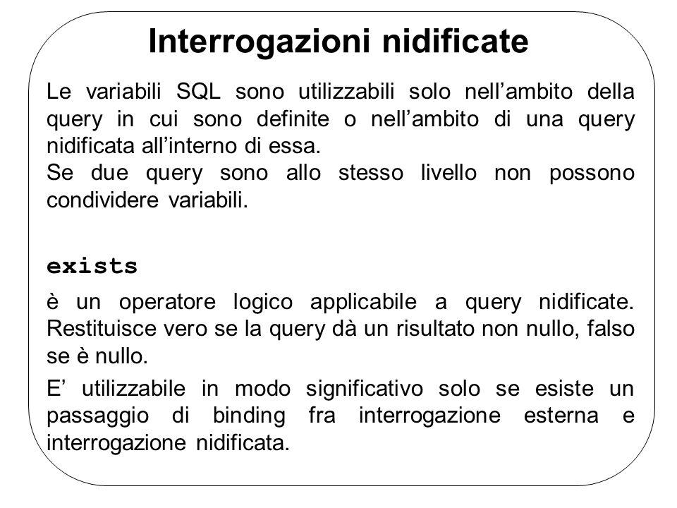 Interrogazioni nidificate Le variabili SQL sono utilizzabili solo nell'ambito della query in cui sono definite o nell'ambito di una query nidificata all'interno di essa.