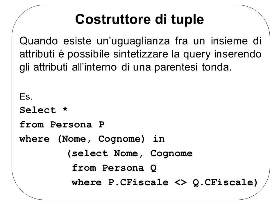 Costruttore di tuple Quando esiste un'uguaglianza fra un insieme di attributi è possibile sintetizzare la query inserendo gli attributi all'interno di una parentesi tonda.