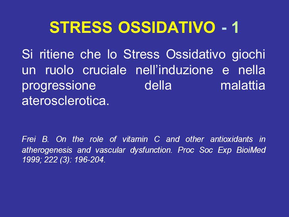 STRESS OSSIDATIVO - 1 Si ritiene che lo Stress Ossidativo giochi un ruolo cruciale nell'induzione e nella progressione della malattia aterosclerotica.