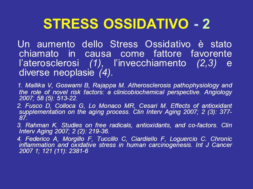 STRESS OSSIDATIVO - 2 Un aumento dello Stress Ossidativo è stato chiamato in causa come fattore favorente l'aterosclerosi (1), l'invecchiamento (2,3) e diverse neoplasie (4).