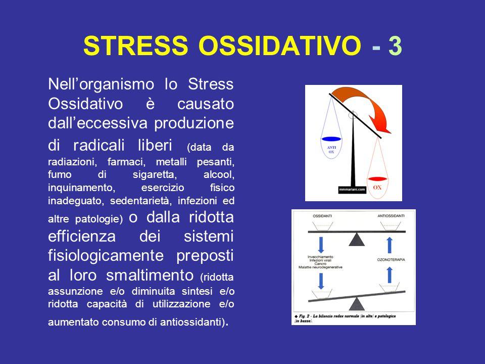 STRESS OSSIDATIVO - 3 Nell'organismo lo Stress Ossidativo è causato dall'eccessiva produzione di radicali liberi (data da radiazioni, farmaci, metalli pesanti, fumo di sigaretta, alcool, inquinamento, esercizio fisico inadeguato, sedentarietà, infezioni ed altre patologie) o dalla ridotta efficienza dei sistemi fisiologicamente preposti al loro smaltimento (ridotta assunzione e/o diminuita sintesi e/o ridotta capacità di utilizzazione e/o aumentato consumo di antiossidanti).