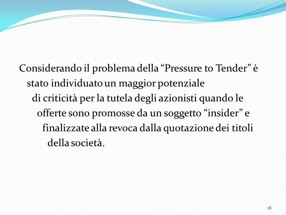 """Considerando il problema della """"Pressure to Tender"""" è stato individuato un maggior potenziale di criticità per la tutela degli azionisti quando le off"""