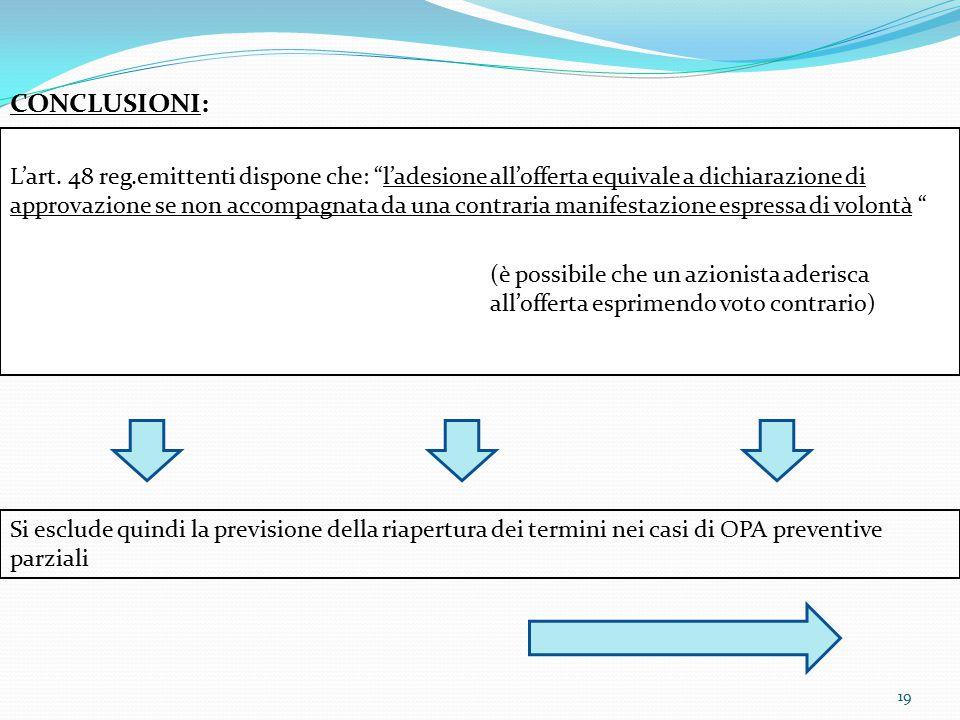 """19 CONCLUSIONI: L'art. 48 reg.emittenti dispone che: """"l'adesione all'offerta equivale a dichiarazione di approvazione se non accompagnata da una contr"""