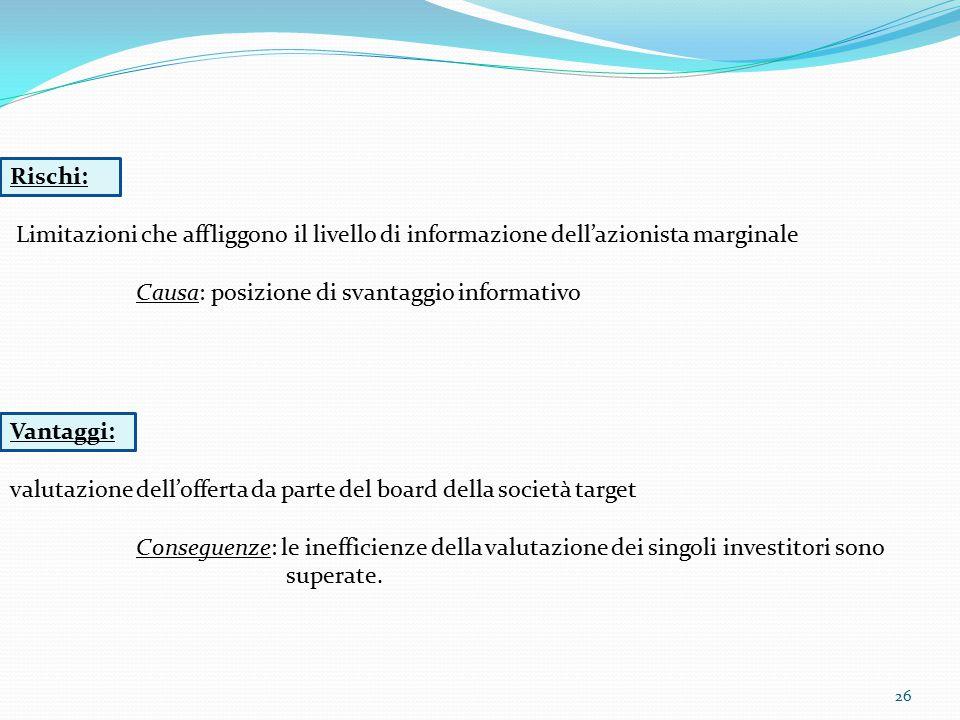 26 Rischi: Limitazioni che affliggono il livello di informazione dell'azionista marginale Causa: posizione di svantaggio informativo Vantaggi: valutaz