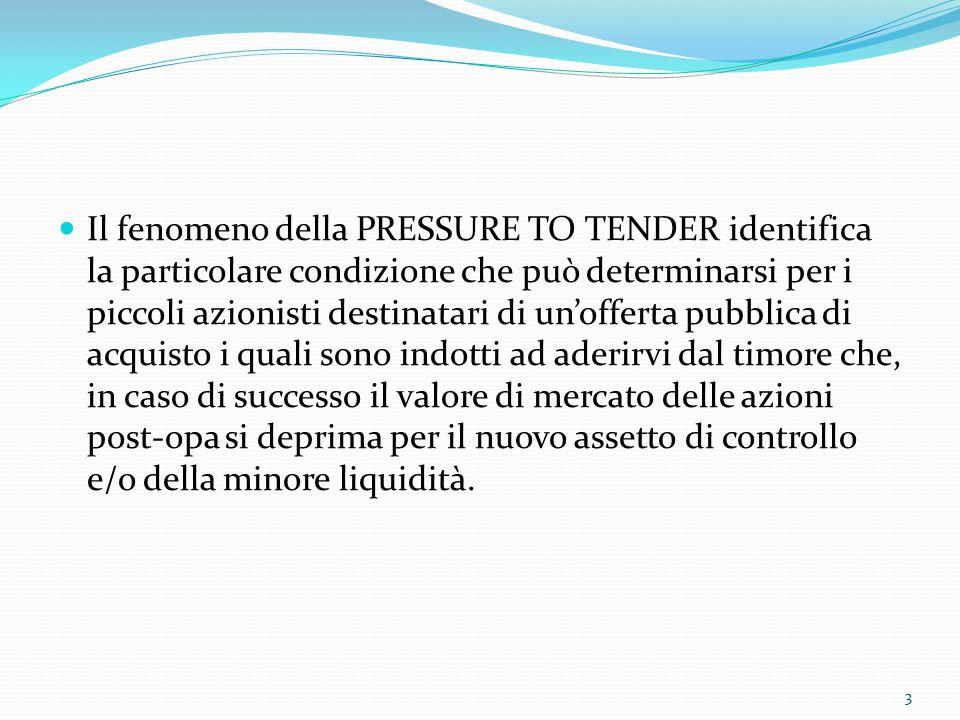 Il fenomeno della PRESSURE TO TENDER identifica la particolare condizione che può determinarsi per i piccoli azionisti destinatari di un'offerta pubbl
