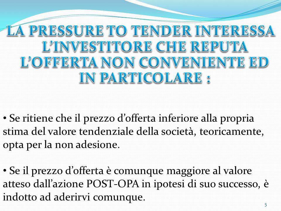 5 Se ritiene che il prezzo d'offerta inferiore alla propria stima del valore tendenziale della società, teoricamente, opta per la non adesione. Se il