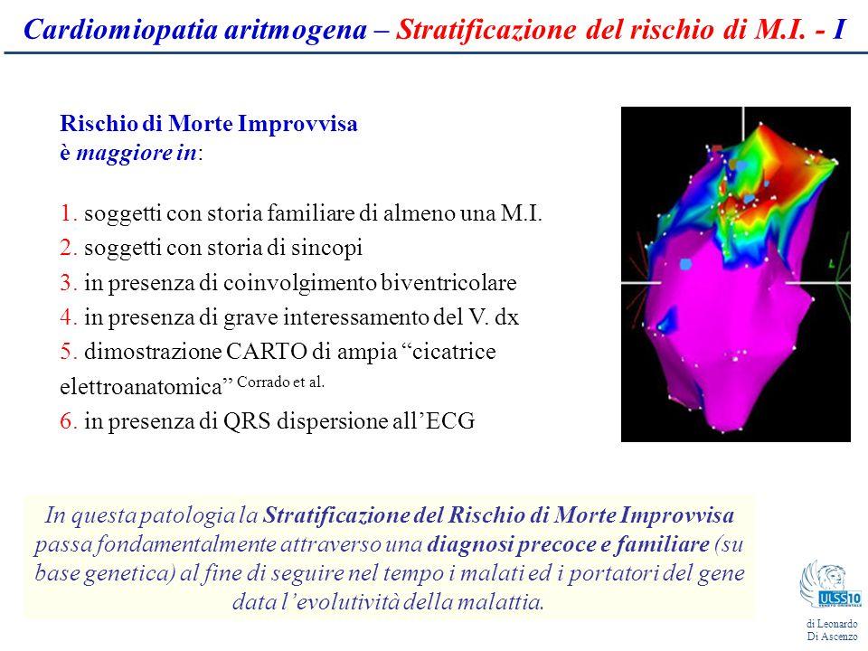 Cardiomiopatia aritmogena – Stratificazione del rischio di M.I.