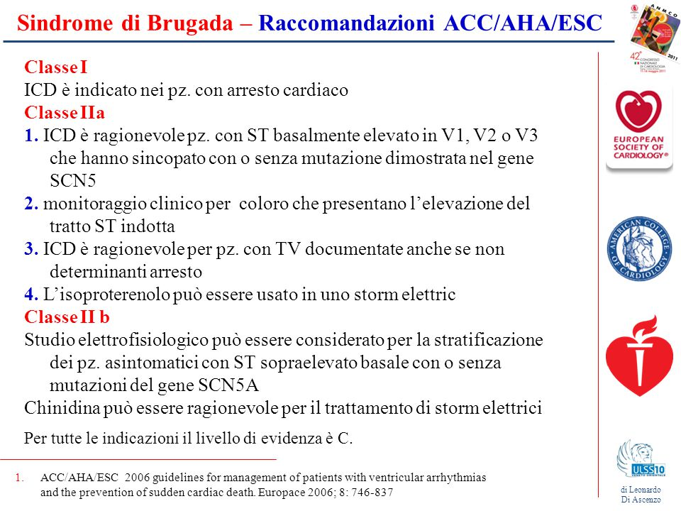 Sindrome di Brugada – Raccomandazioni ACC/AHA/ESC 1.ACC/AHA/ESC 2006 guidelines for management of patients with ventricular arrhythmias and the preven