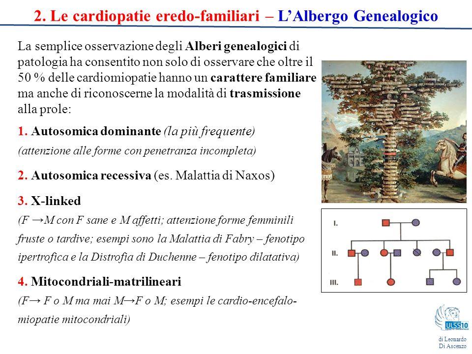 2. Le cardiopatie eredo-familiari – L'Albergo Genealogico La semplice osservazione degli Alberi genealogici di patologia ha consentito non solo di oss