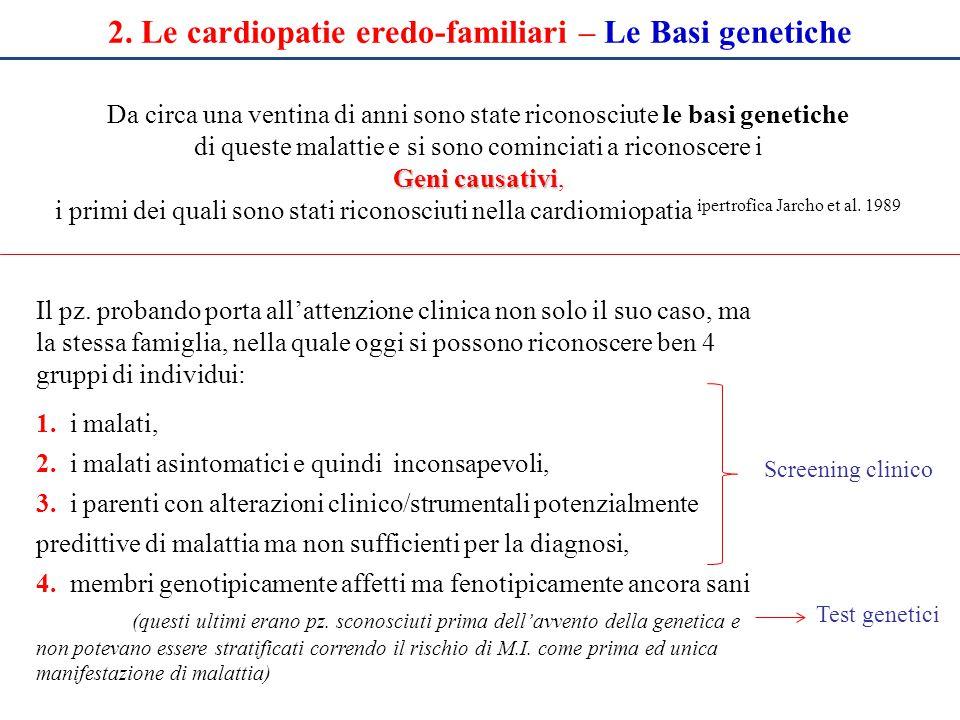 2.Le cardiopatie eredo-familiari – Quando sospettarle Quando di fronte ad un pz.