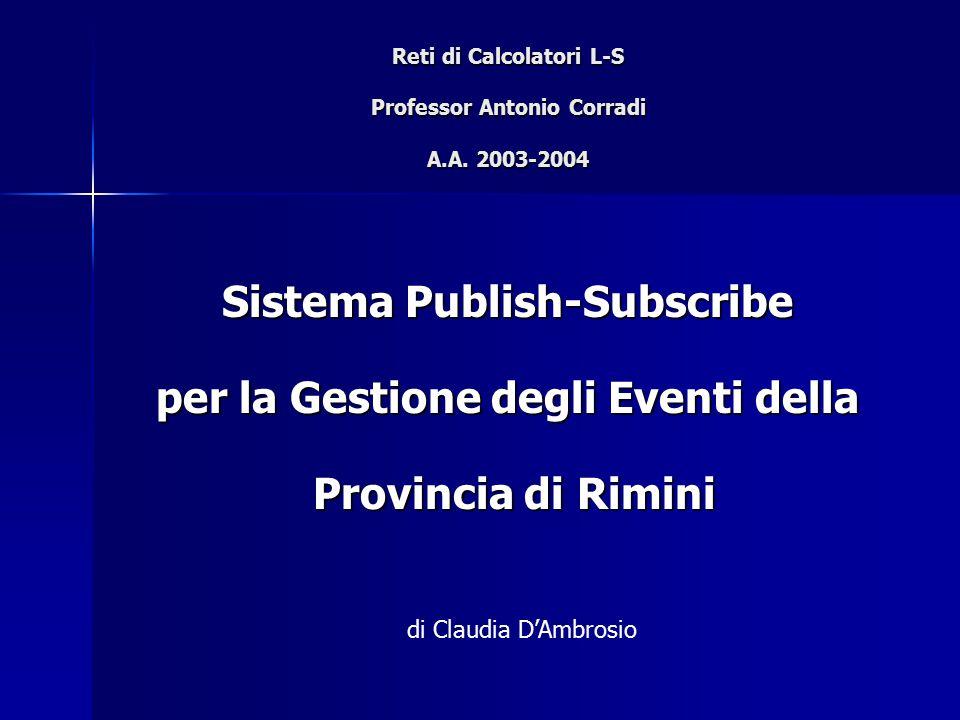 Reti di Calcolatori L-S Professor Antonio Corradi A.A. 2003-2004 Sistema Publish-Subscribe per la Gestione degli Eventi della Provincia di Rimini Prov