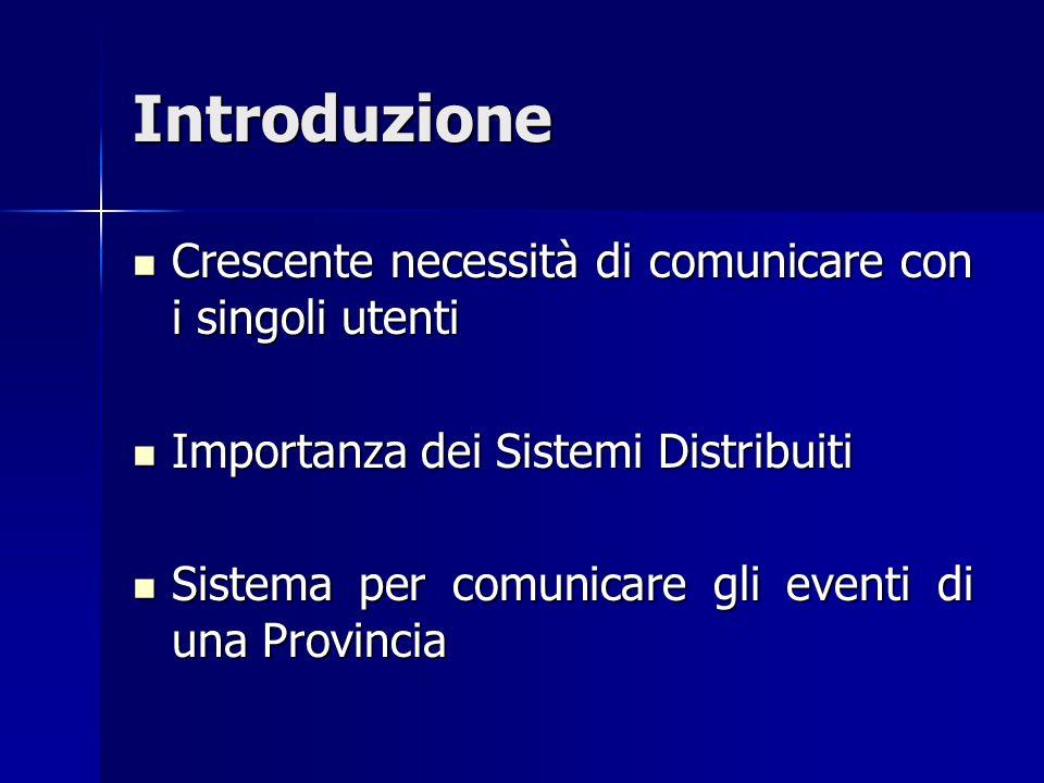 Introduzione Crescente necessità di comunicare con i singoli utenti Crescente necessità di comunicare con i singoli utenti Importanza dei Sistemi Dist