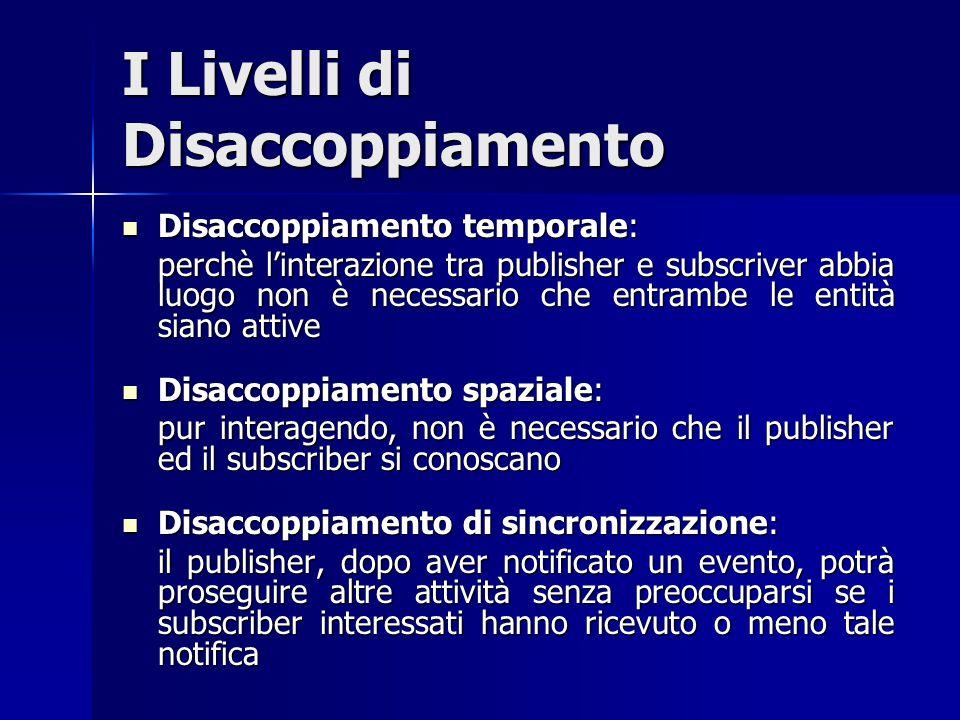 I Livelli di Disaccoppiamento Disaccoppiamento temporale: Disaccoppiamento temporale: perchè l'interazione tra publisher e subscriver abbia luogo non