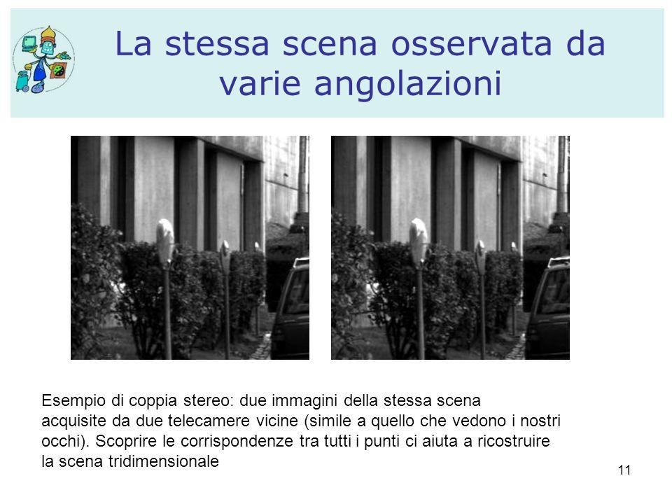 11 La stessa scena osservata da varie angolazioni Esempio di coppia stereo: due immagini della stessa scena acquisite da due telecamere vicine (simile
