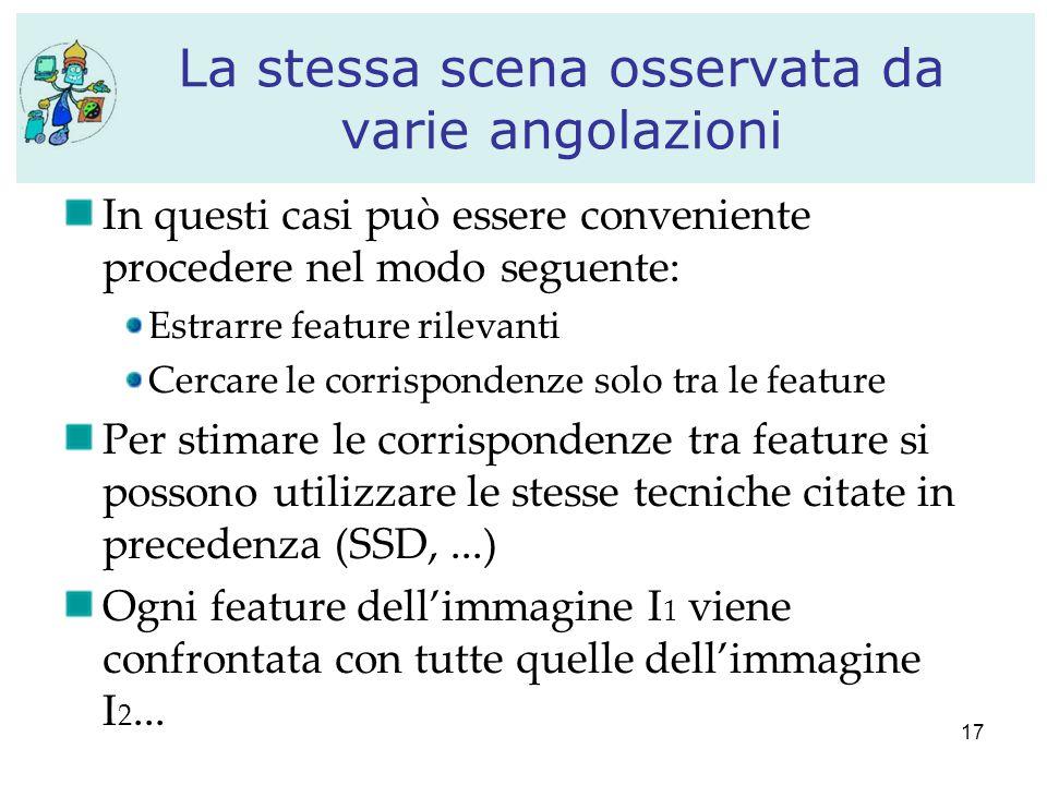 17 La stessa scena osservata da varie angolazioni In questi casi può essere conveniente procedere nel modo seguente: Estrarre feature rilevanti Cercar